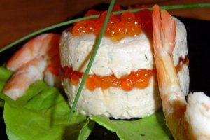 Red fish timbal with caviar, shrimp and cream cheese
